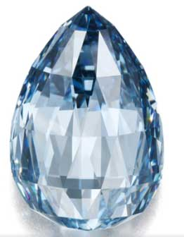 A fantastically rare 10.48ct, Fancy Deep Blue, Flawless, Briolette-cut diamond